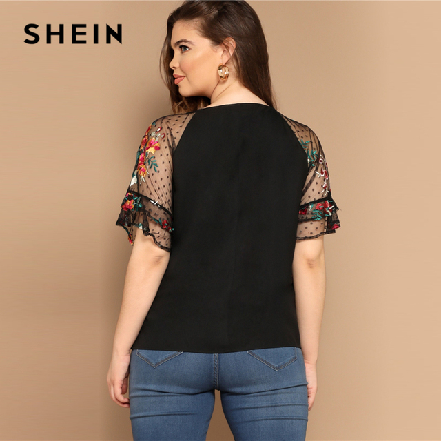 SHEIN Plus Size Black Flower Embroidery Mesh Sleeve Top Blouse Women Summer Elegant Short Sleeve Sheer Solid Round Neck Blouses 2