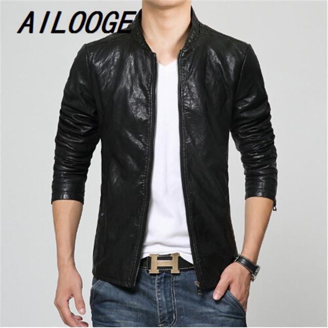 New Fashion PU Leather Jacket Men Black brown Solid Mens Faux Fur Coats Trend Slim Fit Youth Motorcycle Suede Jacket Male