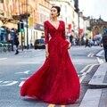 Sexy espalda abierta mangas largas largo rojo vestido de noche de encaje con cuentas árabe de noche vestidos vestidos 2016