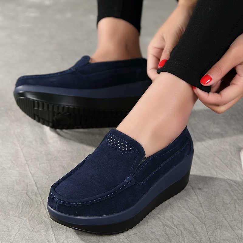 Femmes chaussures plates plate-forme talons mocassins sans lacet dames chaussures femmes en cuir daim Sneaker femme Creepers mocassins printemps 2019