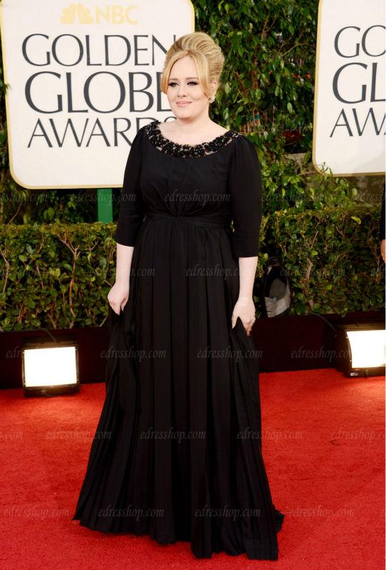Adele Golden Globe Modest Scoop neckline Sleeves Black Chiffon Plus ...