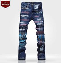 Осень синий многоцветные печатные цветок мужские джинсы джинсовые брюки прямой персонализированные люксовый бренд случайные упругие брюки