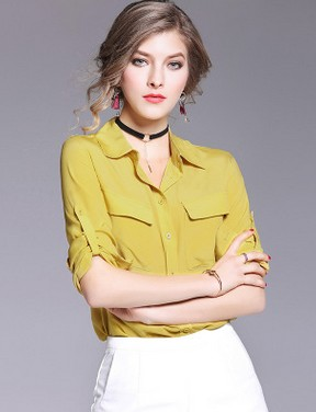 The spring of 2017 the European and American brand pure color silk silk font b shirt