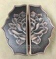 Chinesische antike hölzerne türgriff türgriff halb eine rahmenlose glastür griff bronze lotus geschnitzt griff