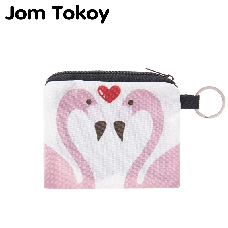 Jom Tokoy Flamingo Love Mini Square Wallet 2017 Fashion Prints Women Purse Holder Small Zipper Coin Purse Female Money Bags flamingo beach mini square wallet 2017 who cares fashion prints women purse holder small zipper coin purse female money bags