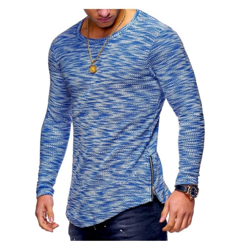 2019 Men's Fashion Spring Casual Hip hop Sports Breathable Pit neck pattern Round Neck Pattern Zipper hem T-Shirt 1