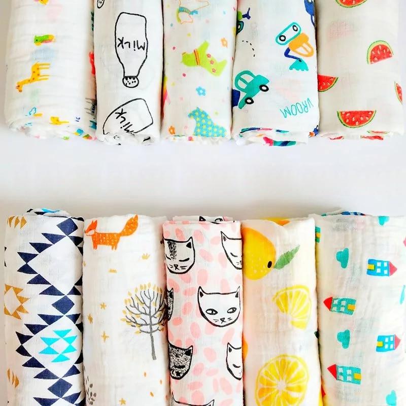 Muslin Cotton Newborn Swaddle Wrap Breathable Baby Sleeping Blanket Infant Bath Towel Infant Bedding Sheet Baby Decoration Room