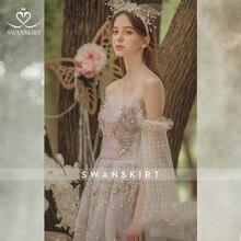 Swanskirt Wedding Dress simple backless ball gown