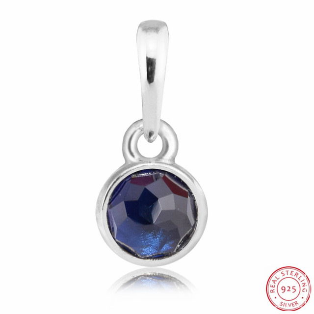6ac9af79b Blue Sapphire September Droplet Necklace Pendant Beads for Jewelry Making  DIY Fit PANDORA Charms Silver 925 Original FL506-9