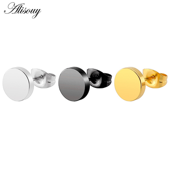 Alisouy 1 Pair Fashion Simple Black Gold Stainless Steel Stud Earrings For Men Round Shaped Women.jpg 350x350 - Alisouy 1 Pair Fashion Simple Black Gold Stainless Steel Stud Earrings For Men Round Shaped Women Earrings Trendy Ear Jewelry