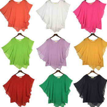 plus size S-4XL 5XL 6XL Summer Women Chiffon Blouses Bating Sleeve chiffon shirts blousas shirts,18 color vestidos casual shirts 1