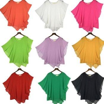 plus size S-4XL 5XL 6XL Summer Women Chiffon Blouses Bating Sleeve chiffon shirts blousas shirts,18 color vestidos casual shirts 1