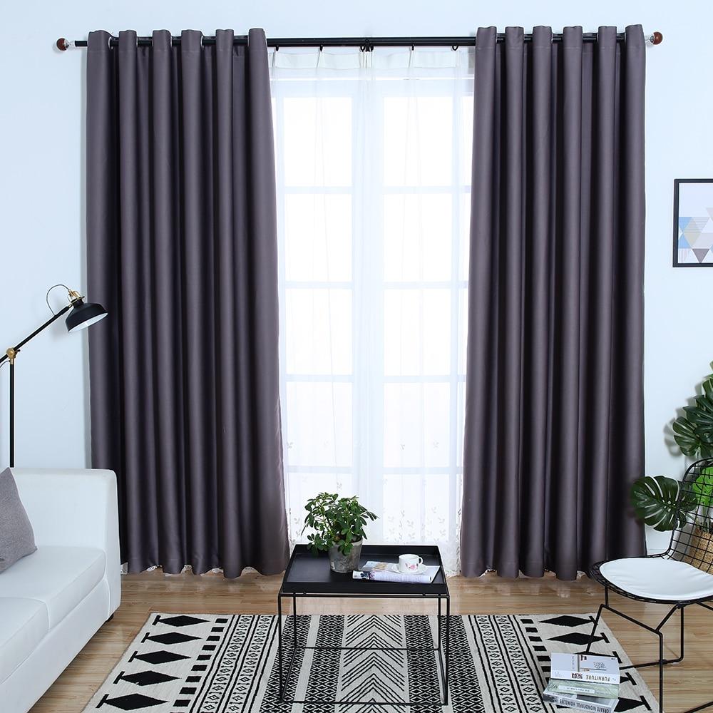 DSinterior 100% Shading Modern Dark Grey Black Blue Color Plain Heat Insulation Blackout Curtain For Living Room Custom Made