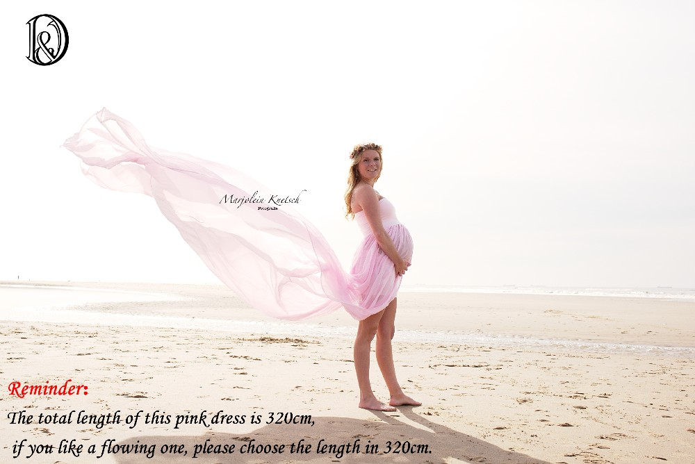 ФОТО Maternity Maxi Long Dress 320cm  Boob Tube On Top Free Size Split Front Chiffon For Photography Props Dress without Shorts