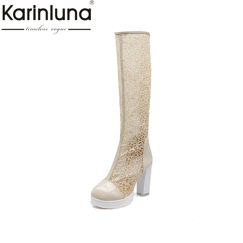 KARINLUNA New Fashion Mesh Solid Square High Heels Hot Sale Zip Platform Shoes Woman Casual Summer Boots Big Size 32-43KARINLUNA New Fashion Mesh Solid Square High Heels Hot Sale Zip Platform Shoes Woman Casual Summer Boots Big Size 32-43