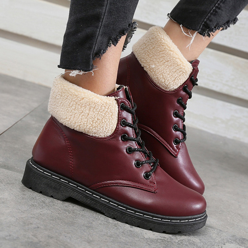 Leather boots women winter wedges shoes 2017 new arrival round toe ankle boots solid black/rose lace-up snow boots size 35-40 new arrival black full grain leather lace up fashion women boots round toe flat with ankle shoes woman z 7