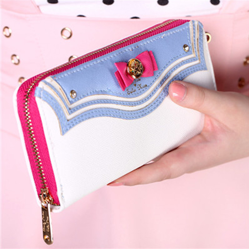 Cute Sailor Moon Wallet Lady Long Purse Artificial Leather Women Kawaii Wallets with Zipper Coin Purses ouluoer thailand imported crocodile skins the lady women purse with a purse and a long women wallet