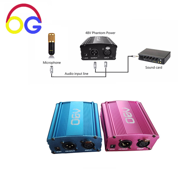 OGV Tricolor farbe 48 V Phantom Power Versorgung Adapter XLR Audio Kabel für Kondensator Micro Mikrofon Aufnahme Ausrüstung
