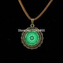 Mandala Religious jewelry Spiritual amulet Sacred geometry Leather Necklace Mandala flower necklace glass cabochon pendant L 336