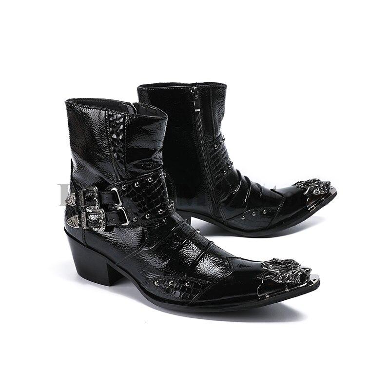 Zapatos De Tobillo Hebilla Punta Charol Toe Metálico Botines Masculinos Roca As Color Metal Partido Negro Mens Botas Cómodos Showed 2018 Estrecha Corto OnZqpIp