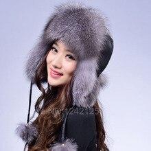 New unisex Hot Winter Real fox fur genuine leather Raccoon women girl children adult bomber ear warm character bomber hat cap
