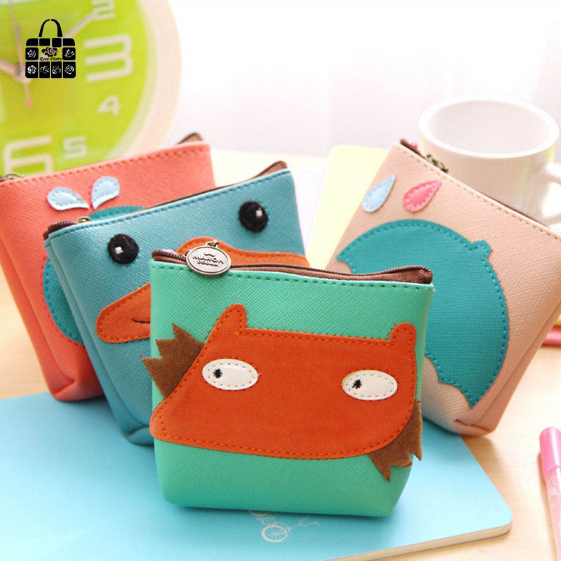 RoseDiary 4 color cute animal leather zipper Kids Wallet Kawaii Bag Coin Pouch Children girl Purse Holder Women Coin Wallet