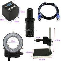 Mini 2.0MP 30fps Industrial Video Microscope Camera VGA Output 10X-180X Optical C-Mount Lens LED Light Adjustable Lift Bracket