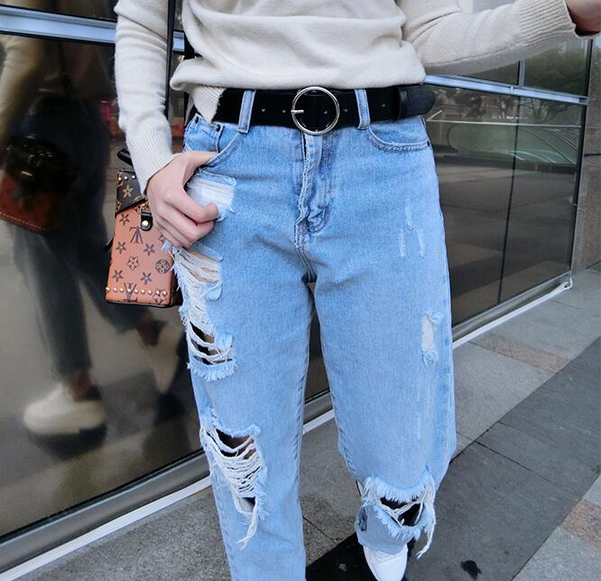 New Circle Pin Buckles Belt Woman Deduction Side Gold Buckle Jeans Wild Belts For Fashion Students Simple Casual Trousers