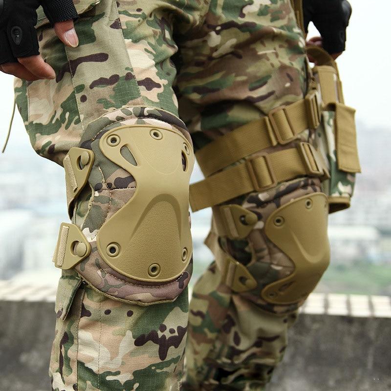 Joelheiras táticas militares paintball airsoft caça proteção, 2 * joelheiras & 2 * cotovelo almofadas definir joelheiras de segurança cp camuflagem