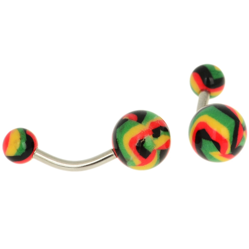 12 Colors Acrylic Ball Barbell Navel Rings 1 PC Stainless Steel Belly Button Rings Body Piercing Jewelry 2017 Fashion