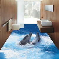 Free Shipping 3D sea dolphin flooring painting wallpaper bathroom office supermarket self adhesive custom floor mural