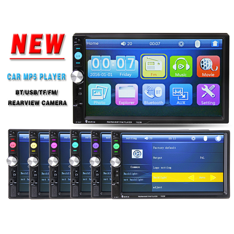 2 Din 7'' HD Touch Screen Car Video Player Bluetooth Stereo Radio FM/MP3/4/MP5/DVD/Audio/USB Auto Electronics In Dash autoradio