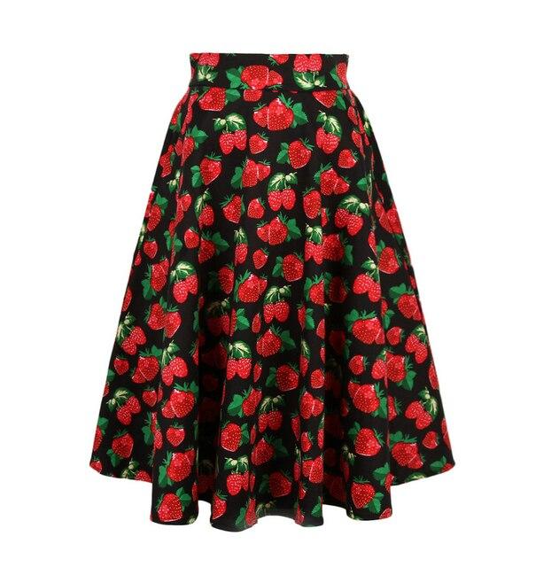 77b7882987 Candowlook 2018 verano Vintage rojo fresa moda Faldas Mujer plisado Tutu  Skater falda elegante alta cintura