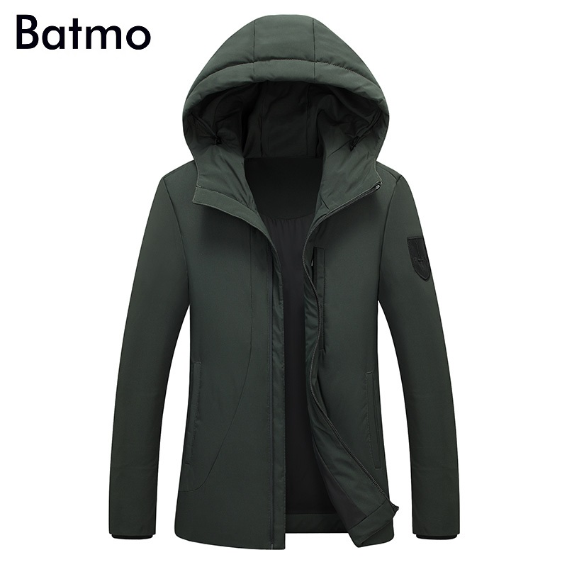 Batmo 2017 new winter keep warm White duck down army green hooded jacket men, winter mens coat M,L,XL,2XL,3XL, 7806