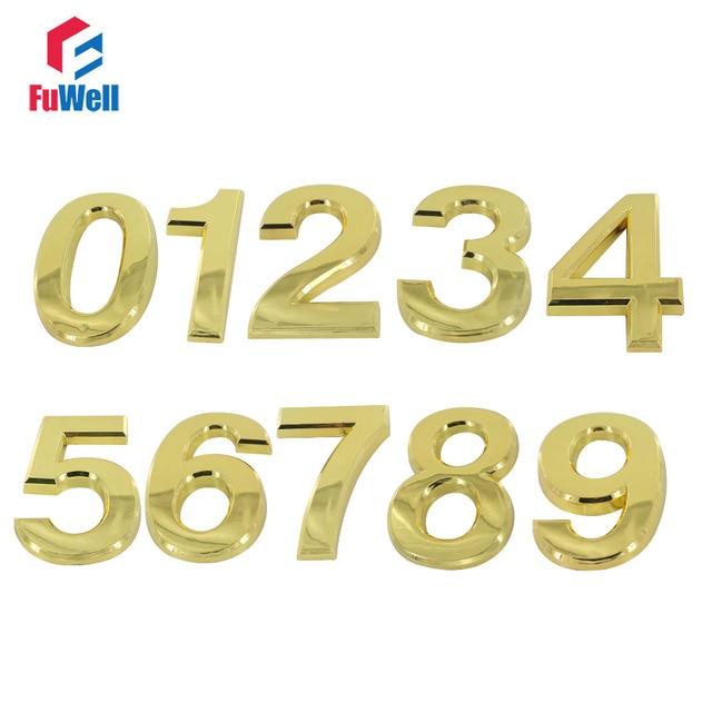 US $3 27 18% OFF|ABS Plastic Digital House Number 70mm Height  0/1/2/3/4/5/6/7/8/9/A/B/C/D/E/F# Optional Golden Color Door Plate Number  -in Door Plates