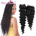 Beauty Peruvian Deep Wave With Closure 4 Bundles Hair Weave With 1pc Closure Cheap Brazilian Virgin Human Hair Weave Bundles
