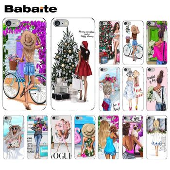 Babaite VOGUE Christmas Princess Girl Female coffee Phone Cover for Apple iPhone 8 7 6 6S Plus X XS MAX 5 5S SE XR Cellphones image