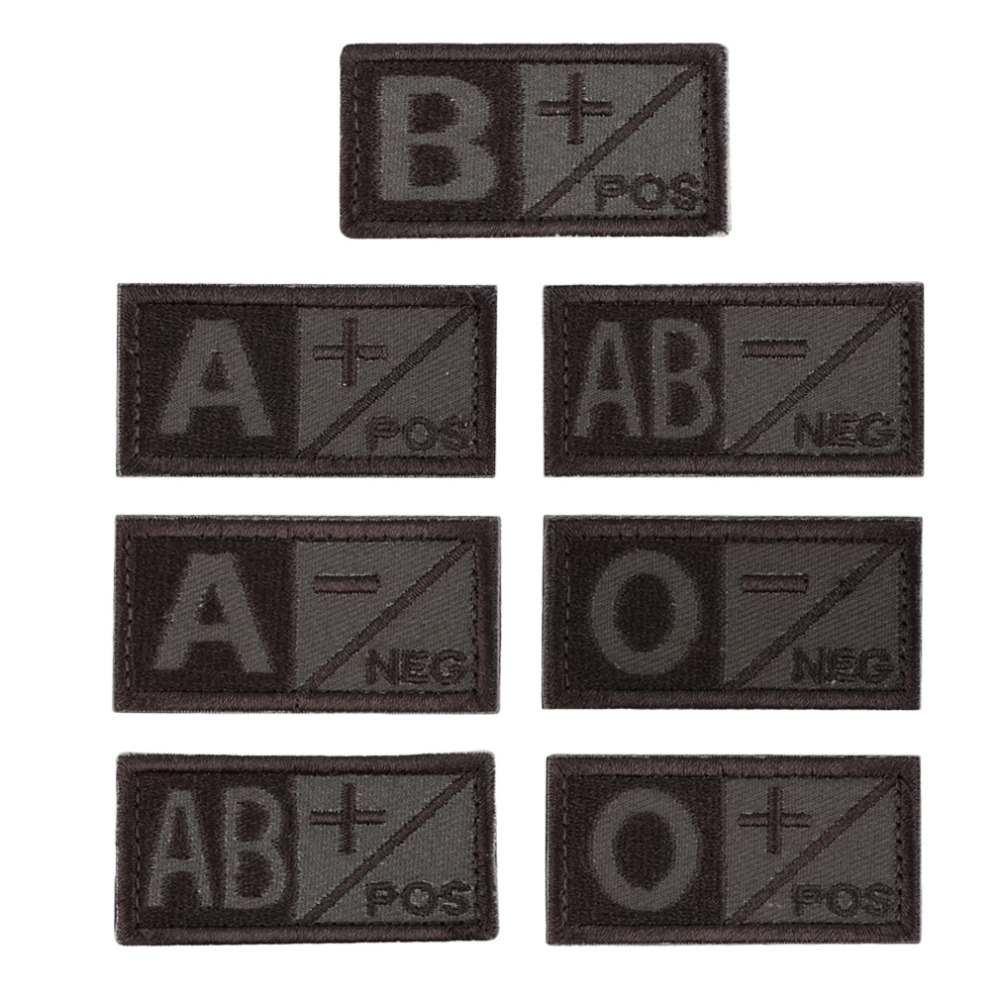 3D Blood Type Badges A B AB O POS NEG Coyote Tan OD Green Badges Positive Hook Embroidery Cloth Standard Armbands new arrival