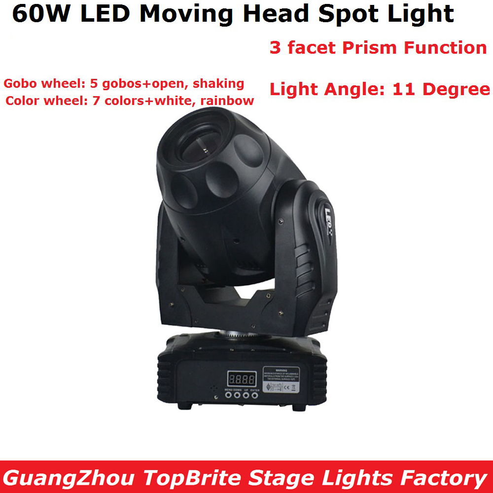 60W LED Moving Head Spot Stage Lighting DMX 512 Control High Power 60W Gobo Led Moving Light LCD Display 3-facet prism Fast Ship 2xlot led moving head spot lights 330w led lamp high power professional led moving head light lcd display 5 35 motorized focus
