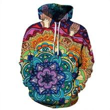 Sudadera con capucha abstracta de Mandala con estampado Floral para hombre y mujer sudaderas con capucha 2018 nuevo Hip Hop Xmas Hoody chándal para hombre