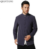 New Traditional Chinese Men S Cotton Linen Jacket Coat Long Sleeve Clothing Size S M L