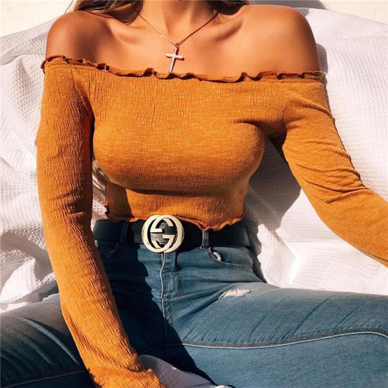 MOBTRS Off Shoulder T Shirt Women Soild Cropped Top Fungus Long Sleeve Shirt Sexy Slim Shirt Cotton T-shirt
