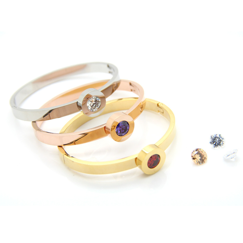 Gold Plated Stainless Steel Fashion Jewelry Interchangeable Stone Cuff Bracelets Bangles Love Couple Women - LOVE ZM store