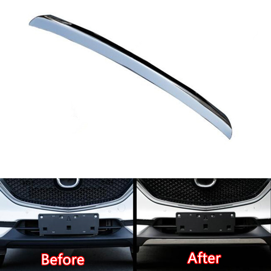 Stainless Steel Car Exterior Front Bumper Lip Cover Strip Trim Styling Fit For Mazda CX-5 CX5 2017 2018 Accessories car front fog light eyebrow trim bumper sticker garnish decoration strips car styling for mazda cx 5 cx5 2017 2018 kf