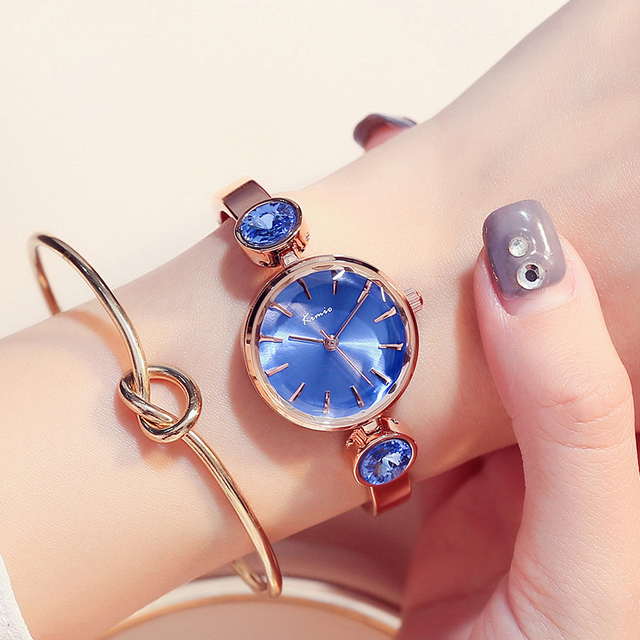Kimio Classic Blue Women Bracelet Watch Ladies Gem Quartz Watches Clock Female D