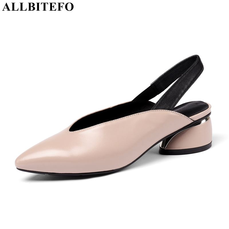 ALLBITEFO large size:34-42 genuine leather thick heel wedding women shoes women high heel shoes high quality women heelsALLBITEFO large size:34-42 genuine leather thick heel wedding women shoes women high heel shoes high quality women heels