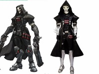 Popular game OW cosplay Black Gabriel Reyes Reaper cosplay costume Halloween costumes for adult men Reaper mask Reaper costume