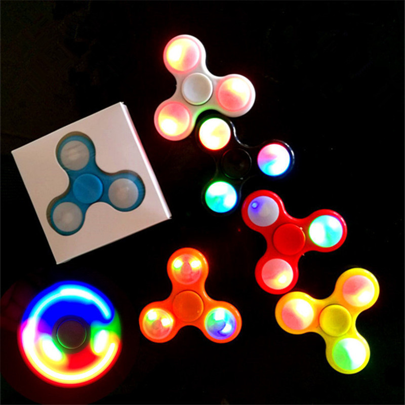 Fidget Spinner LED Light Finger Plastic ABS EDC Hand Spinner For Autism and ADHD Relief Focus Anxiety Stress Wheel Toys Gift new arrived abs three corner children toy edc hand spinner for autism and adhd anxiety stress relief child adult gift