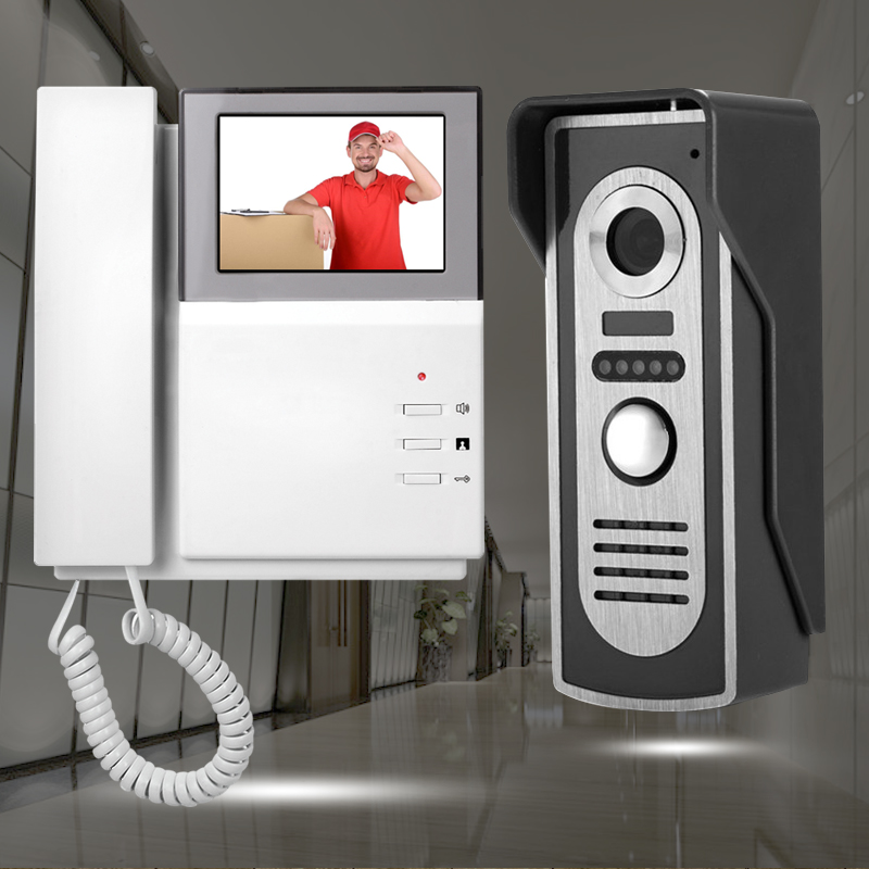 4.3'' TFT- LCD video intercom doorbell system 1 phone receiver monitor screen+1 IR night vision outdoor camera metal interphone 7inch video door phone intercom system for 5apartment tft lcd screen 5 flat indoor monitor with night vision cmos outdoor camera