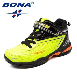 Image 5 - BONA zapatos informales con cordones para niños, zapatillas de suela plana sintética, a la moda para actividades al aire libre, cómodas